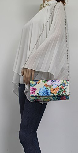 Purse Ladies Clutch Cream Out Prom Evening Night Bag Wedding Krya SWANKYSWANS Celebrity Floral Party Flapover v6qW7wzp