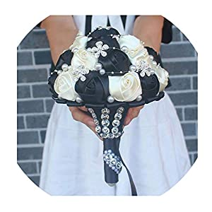 Black Ivory Silk Artificial Flower Bridal Bouquets Crystal Pearls Bridesmaid Bridal Wedding Bouquets Color Choose 92