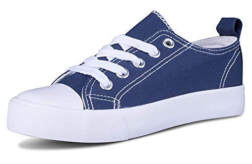 Canvas Tie - Kids Sneakers Tie up Slip on Canvas Laces Children- Girls Boys Youth Toddler - Causal Comfortable Cap Toe Shoes (2 Kids, Navy Blue/White)