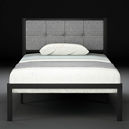 Urest Twin Bed Frame Upholstered Button Tufted Square Stitch with Headboard Mattress Foundation Platform Bed Easy Assembly No Box Spring Needed Strong Metal Slat Support,Dark Grey