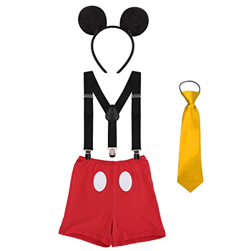 IBTOM CASTLE Baby Boy's Girl's Y Back Clip Suspenders 1st/2nd/3rd Birthday Cake Smash Bloomers Bowtie Outfits Set Cute Mouse Ears Costume #2 Black+Red Boxer Pants 12-18 -