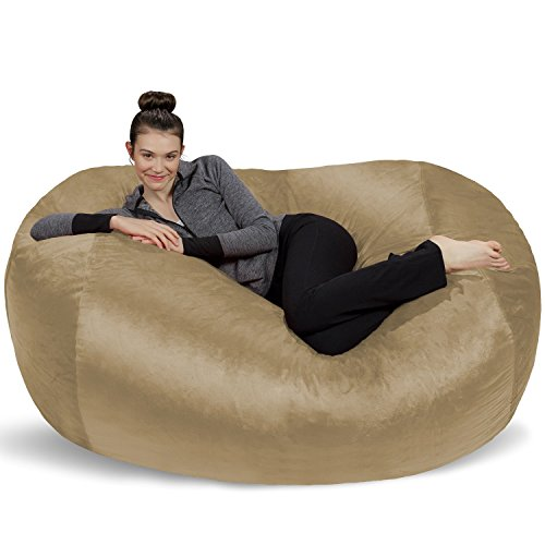 Sofa Sack - Plush Bean Bag Sofas with Super Soft Microsuede Cover - XL Memory Foam Stuffed Lounger Chairs for Kids, Adults, Couples - Jumbo Bean Bag Chair Furniture - Camel 6'