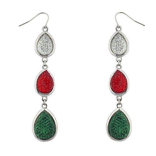Silver 10mm Wire Flower Beads - Lux Accessories Silvertone Multicolor Caviar Glitter Christmas Teardrop Earrings