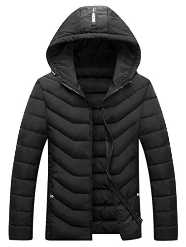 UK today Black Down Jacket Outwear Winter Quilted Hoodie Men's Thicken qUAxqHrd