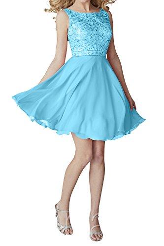 Kurzes Chiffon Promkleider Jugendweihe Ballkleider Partykleider Kleider Abendkleider Brau mia Mini Blau Cocktailkleider La OWwxnBtaP
