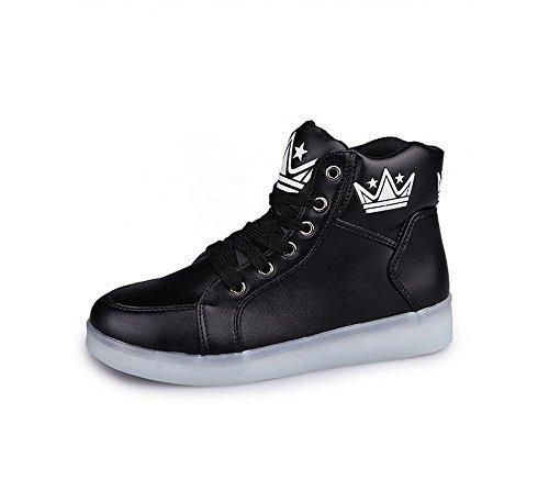 LED Light Up Couple Women's Men's Shoes Sneakers USB Charging for Valentine's Day Christmas Halloween (Black - 6.5 B(M) US Women / 4.5 D(M) US Men)