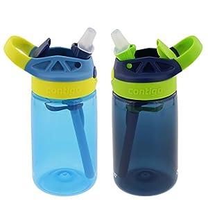Contigo Kids Autospout Gizmo Water Bottles, 14oz (Nautical Blue/Navy Blue) - 2 Pack