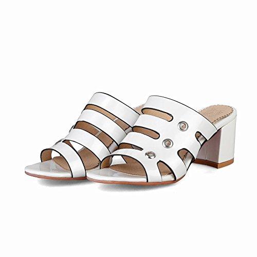 High Toe Casual Fashion White Slippers Sandals Open Womens Heel Carolbar nqwBRR