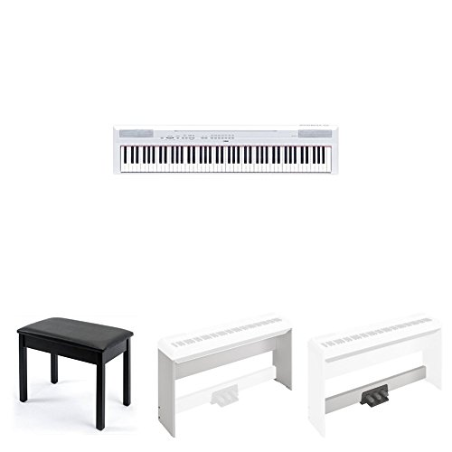 Yamaha P115 Advanced Home Bundle with Furniture Stand, Bench, and 3-Pedal Unit, White