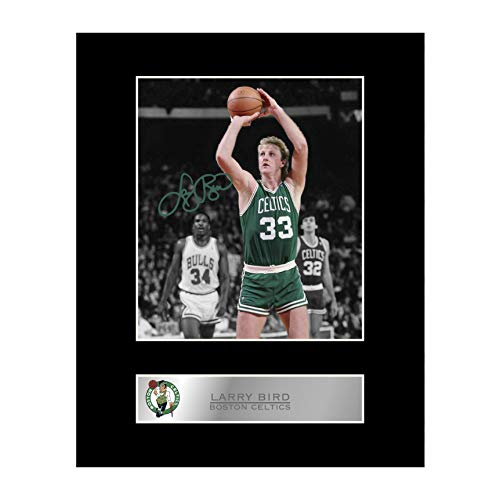 iconic pic Larry Bird Signed Mounted Photo Display Boston Celtics NBA Autographed Gift Picture Print