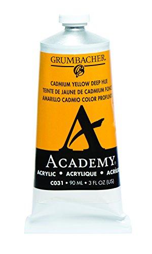 Grumbacher Academy Acrylic Paint, 90ml/3 oz Metal Tube, Cadmium Yellow Deep Hue