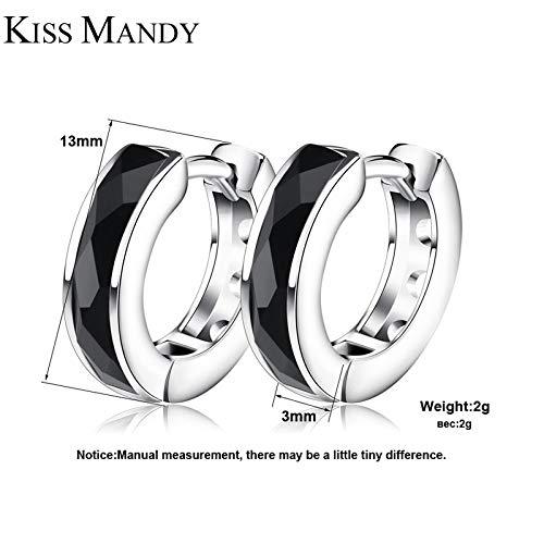 Small Circle Hoop Earrings | Black Natural Stone Silver Color Bezel Earring | Fashion Women Earrings | Female Jewelry