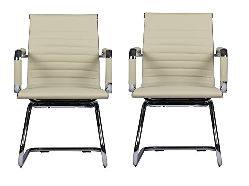 MID-BACK LEATHER GUEST OFFICE CHAIR MZN8107 -Cream (Sets of 2) - Cream Leather Office Chair