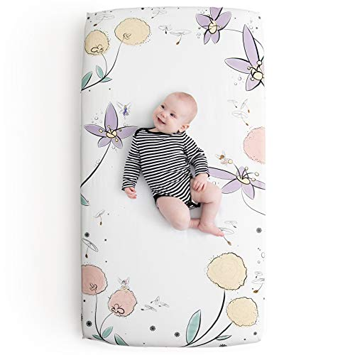 JumpOff Jo - 100% Cotton Super Soft Floral Crib Sheet - Hypoallergenic and Breathable Crib Mattress Topper - Flower Design - Fairy Blossoms (Оne Расk)