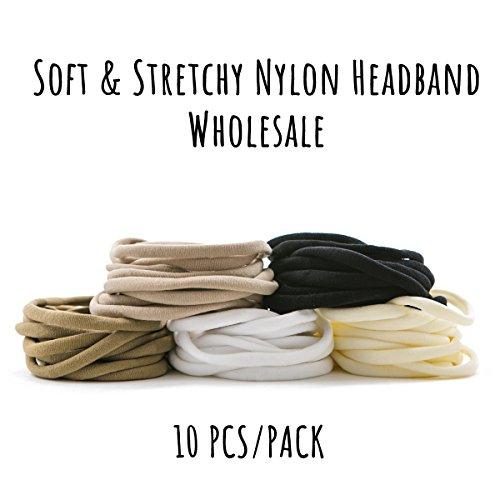 10pcs Nylon Headband - Fits all Newborns, Babies, Toddlers and Children (Black) (Headband Black Nylon)