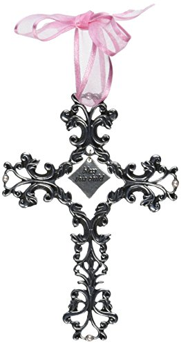 Cathedral Art FC303 Bless This Child Pink Ribbon Baby Cross, 5-Inch High