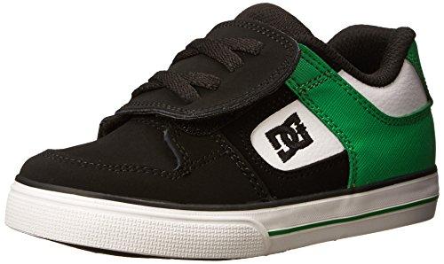 DC Pure V Skate Shoe (Toddler), Black/White/Green, 10 M US Toddler