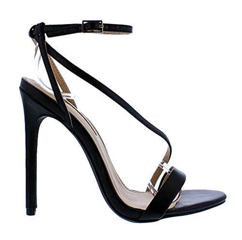 Women Black Irina7 Liliana Open Over Stiletto Cross Strap Heel Toe High 4aRqaBv