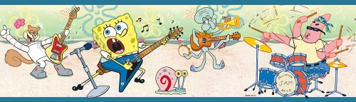 Brewster 147B02110 Nickelodeon SpongeBob Rock and Roll Blue Wall Border