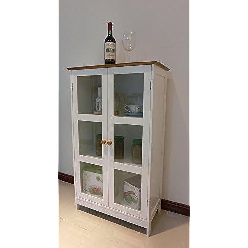 Homecharm Intl 23.6x11.8x40.4 Inch Storage Cabinet,2 Glass  Doors,Whiteu0026veneer Top(HC 043)