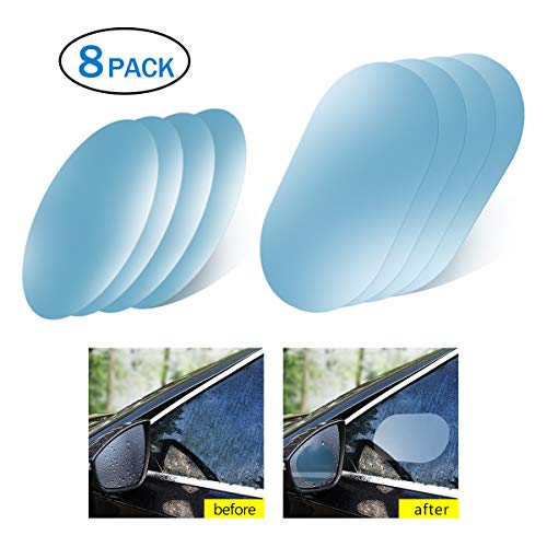 Anti Fog Film,Car Rearview Waterproof Anti-Fogging,Anti-Mist Anti-Dazzle,Mirror Rainproof,Anti-Glare Side Mirror Window Protector Film,Anti- Fog Clear Car Rearview Mirror Accessories(Pack of 8)