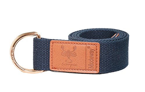 Modeway Womens Mens Star Sign Canvas Web Double D-Ring Leather Gold Buckle Belt (L-XL(37
