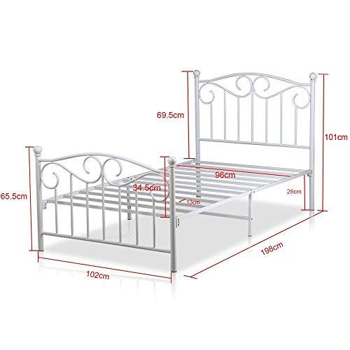 [해외]Yaheetech 단일 금속 침대 프레임 트윈 크기 썰매 침대 머리판 ...