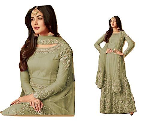 (stylishfashion Indian/Pakistani Designer Ready to Wear Salwar Kameez Long Gown Style Anarkali Salwar Suit (Pista, M-40))