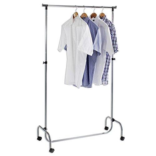 Garderobenwagen Kleiderständer Rollgarderobe Garderobenständer TIGER, mit höhenverstellbarer verchromte Kleiderstange