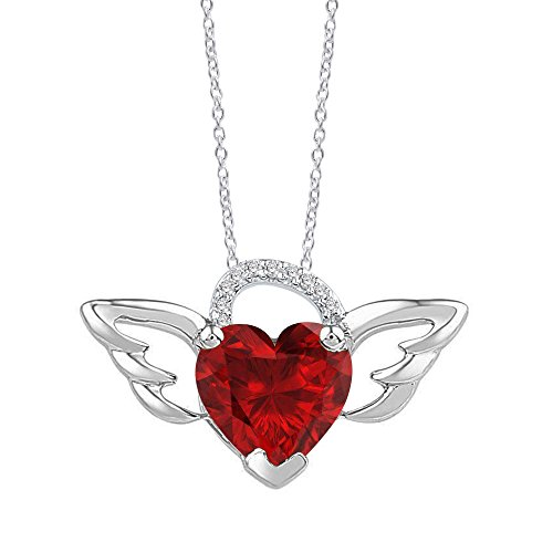 OMEGA JEWELLERY 1.70 Ct Heart-Shaped Lab-Created Gemstone & Diamond Accent 925 Sterling Silver Wings Pendant With Chain (ruby)