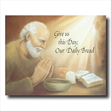 Amazoncom Old Man Praying At Dinner Table Daily Bread Religious