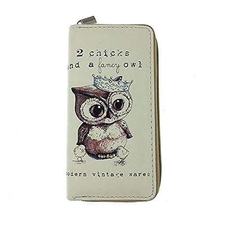 Happy Halloween Owl Wallets for Women Card Holder Zipper Purse Phone Clutch Wallet