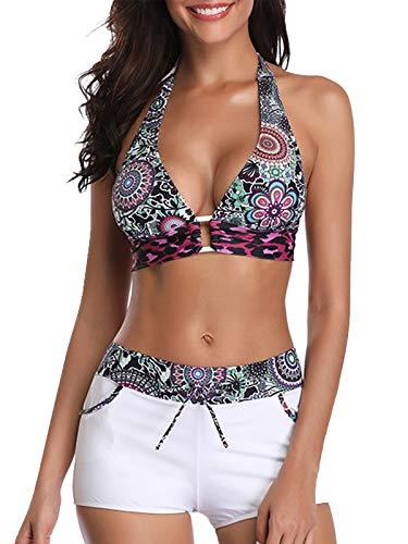 Century Star Two Piece Swimsuit Lace Up Bandage Push UP Bikini Set with Boyshorts Halter Swimwear Womens Bathing Suit Floral Print Small (fits Like US 2-4) (Up Piece Lace Bra 3)