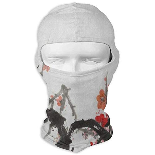 - Full Face Mask Hood Motorcycle Soft Chinese Style Painting Cherry Blossom Headwear Balaclava Windproof Cycling Hat