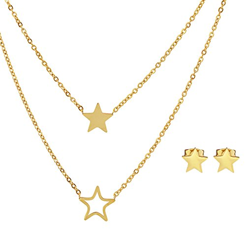 Double Chain Stud - EDFORCE Stainless Steel Double Chain Star Stud Earring Pendant Necklace Set, 19