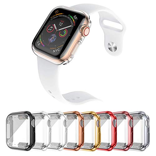 [8 Pack] Cover per Apple Watch SE 6 5 4 3 2 (40mm), Protettiva Case In TPU Custodia Morbida Compatibile con iWatch Serie SE 6 5 4 3 2, Anti-Graffio/360°Copertura Completa/HD Clear