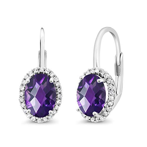 Gold Oval Amethyst Earrings - Gem Stone King 10K White Gold 1.84 Ct Oval Checkerboard Purple Amethyst White Diamond Earrings