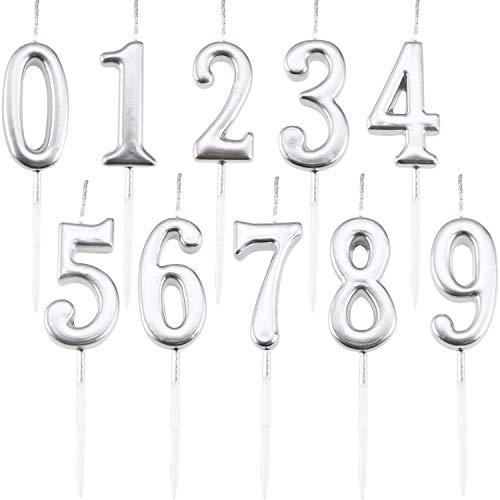 Maitys 10 Pieces Birthday Numeral Candles Glitter Cake Numeral Candles Number 0-9 Silver Cake Topper Decoration for Birthday Party Supplies -