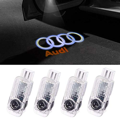 Audi car Accessories Door Logo Led Light Car Door Projector Lights Ghost Shadow Light Audi Puddle Emblem Welcome Lights Reflector For Audi A1 A3 A4 A5 A6 A7 A8 Q3 Q7 R8 TT Auto Accessories Part 4 PCS