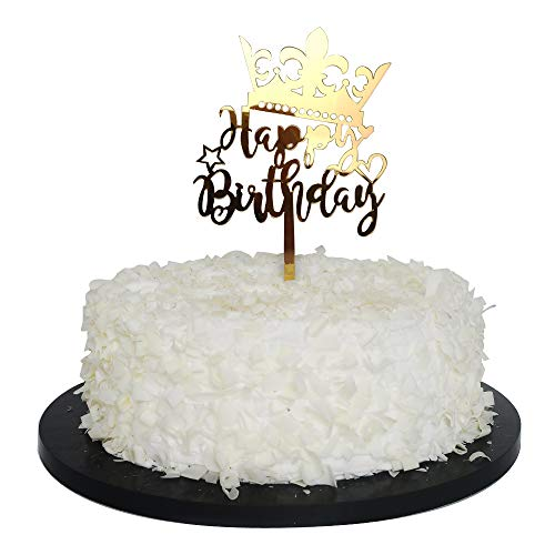 r Crown Happy Birthday Cake Topper Adult Birthday Party Decoration Supplies ()