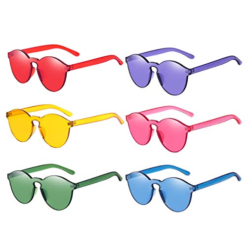 One Piece Rimless Sunglasses Transparent Candy Color Tinted -