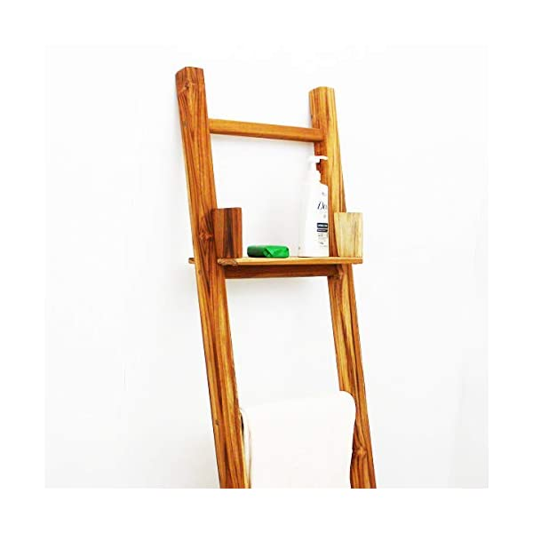 Haussmann Teak Towel Ladder 18 x 64 in H Adj Shelf Teak Oil