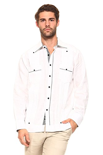 Mojito Collection (Mojito Collection Men's Guayabera Linen Shirt Button Down Long Sleeve With Gingham Print Accent Trim Chacabana (LG, Black))