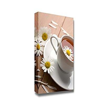 Canvas Prints Wall Art - Cup of Tea with Daisies | Modern Wall Decor/Home Decoration Stretched Gallery Canvas Wrap Giclee Print. Ready to Hang - 36