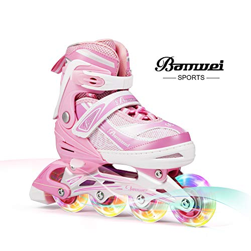 BANWEI SAM Toys Girls Adjustable Inline Skates with Light up Wheels - Beginner Kids Rollerblades - Size 12-1