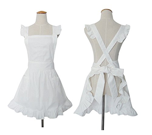 Hot 100% Cotton Cute White Retro Lady's Aprons for Women's Cake Kitchen Fashion Cook Apron with Two Pocket for Mother's Day Gift (White Cook Apron compare prices)