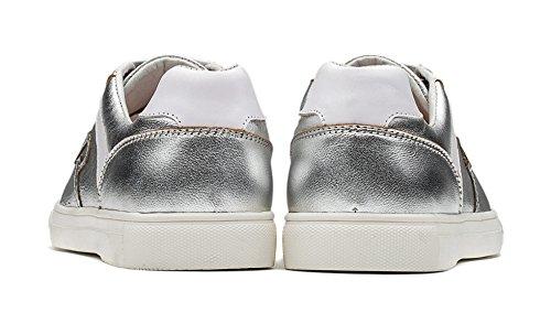 Lace OPP Shoes Design Unique Sneaker Leather Men's Silver Casual Flat up rXxPq6T4Xw