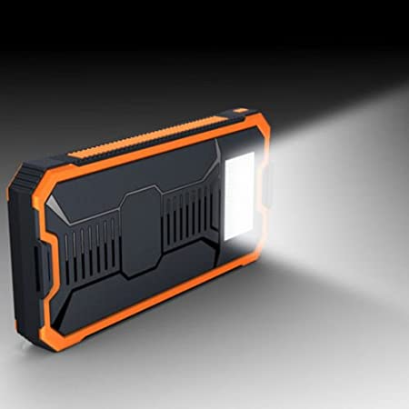 Nikkycozie 50000 mAh Waterproof Portable Power Bank Solar Charger Dual USB Battery (Orange)