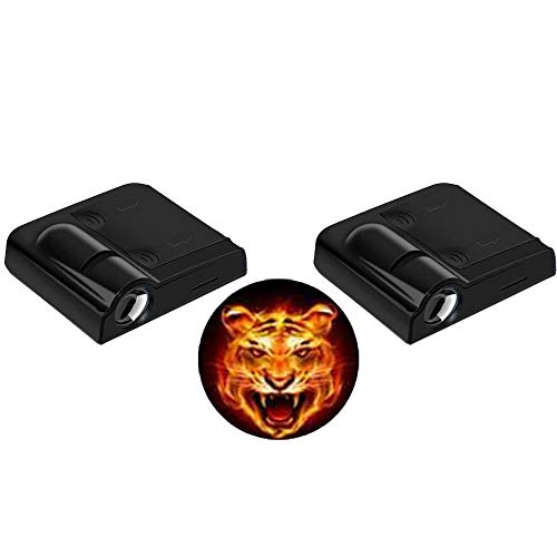 - LEIWOOR 2pcs Universal Wireless Car Projection LED Door Shadow Light Laser Lamps Kit (Flame Tiger Head)