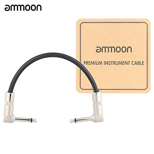 - Bowbof - AC-10 15cm / 0.5 Feet Guitar Patch Effect Pedal Instrument Guitar Cable Cord 1/4 Inch 6.35mm Silver Right Angle Plug PVC